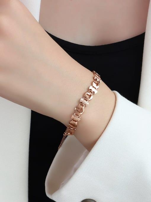 E090 rose gold T-shaped  16+ 5cm Titanium Steel Geometric Minimalist Link Bracelet