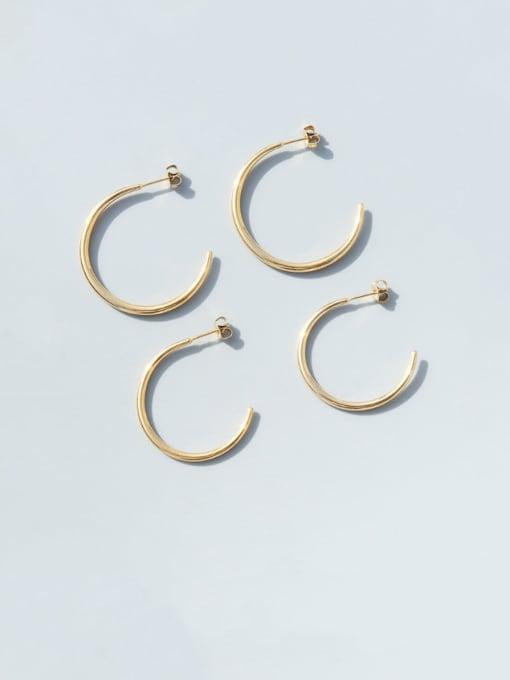 MAKA Titanium Steel C shape Minimalist Hoop Earring 2