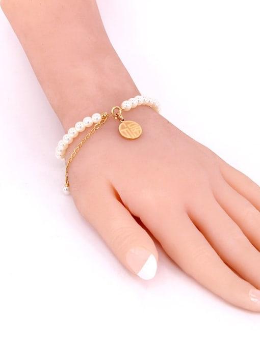K.Love Titanium Steel Imitation Pearl Round Minimalist Beaded Bracelet 3
