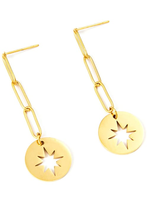 YAYACH European and American personalized hollow awn star titanium steel earrings
