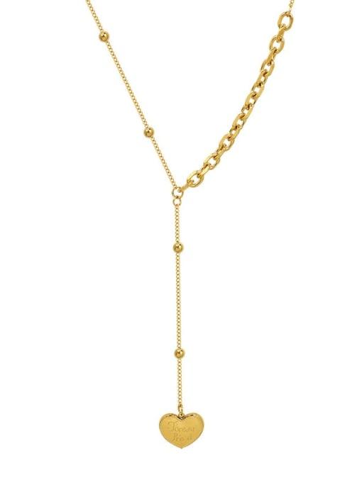 MAKA Titanium Steel Tassel Minimalist Heart Lariat Necklace 1