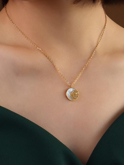 MAKA Titanium Steel Shell Geometric Vintage Necklace 2