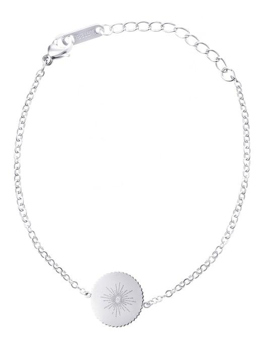 Steel color Stainless steel Round Minimalist Link Bracelet