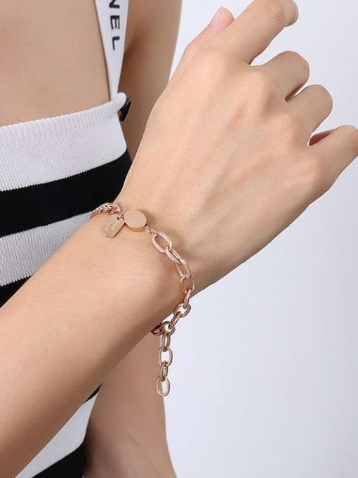 Rose Gold Bracelet 20cm Titanium Steel Geometric Minimalist Link Bracelet