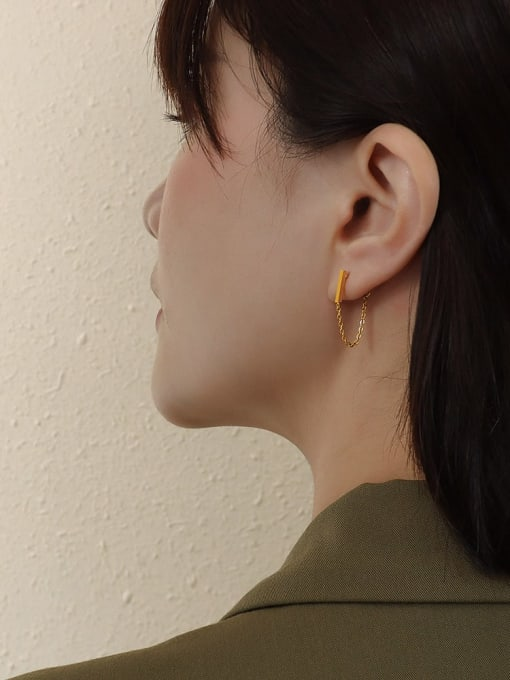 MAKA Titanium 316L Stainless Steel Tassel Vintage Drop Earring with e-coated waterproof 1