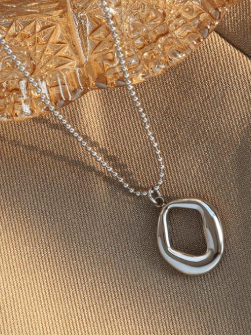 MAKA Titanium Steel Bead Chain  Vintage Irregular Pendant Necklace 3