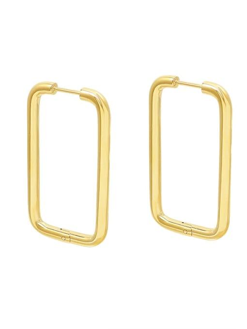 F546 Gold Earrings Titanium Steel Geometric Minimalist Huggie Earring