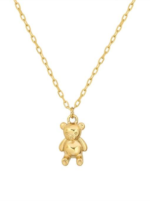 Golden cute bear Necklace 40+ 5cm Titanium Steel Geometric Minimalist Necklace