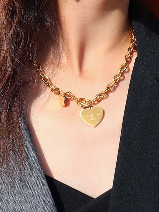 MAKA Titanium Steel Heart Vintage Hollow Chain Necklace 1