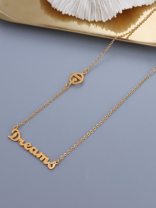 MAKA Titanium 316L Stainless Steel Letter Minimalist Necklace with e-coated waterproof 2