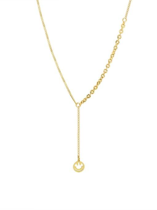 Gold necklace 45+5cm Titanium Steel Tassel Minimalist Lariat Necklace