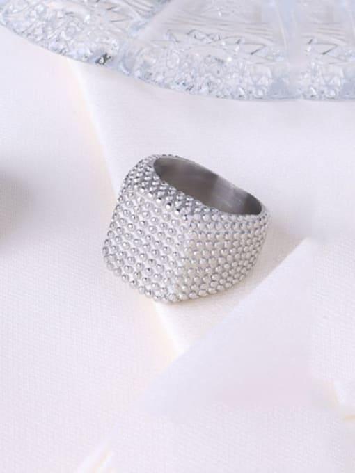 Steel square ring Titanium Steel Geometric Artisan Band Ring