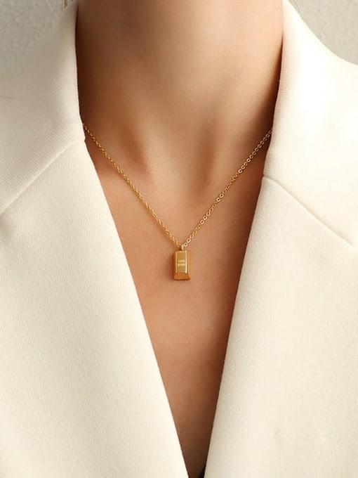 MAKA Titanium Steel Geometric Minimalist Letter Pendnt  Necklace 1