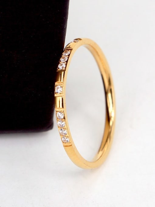 K.Love Titanium Steel Cubic Zirconia Geometric Minimalist Band Ring 2