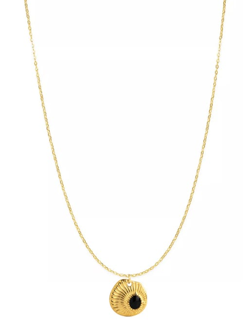 gold Small fresh drop oil embossed texture pendant necklace
