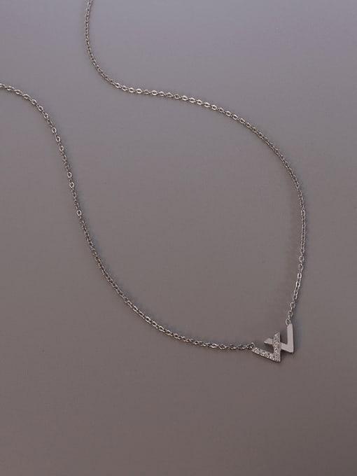 MAKA Titanium Steel Cubic Zirconia Minimalist Letter W  Necklace 3
