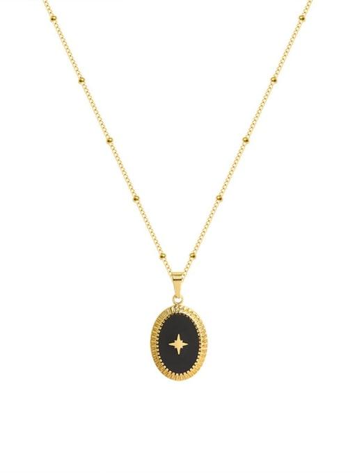 Gold Titanium Steel Enamel Oval Minimalist Necklace