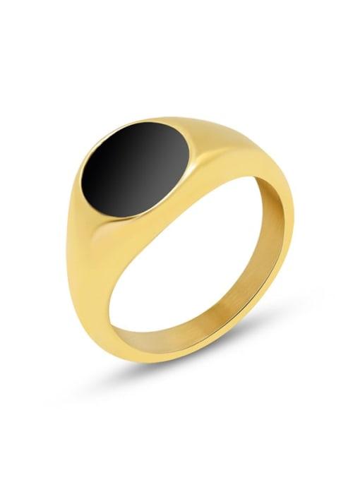 MAKA Titanium Steel Enamel Geometric Vintage Band Ring 0