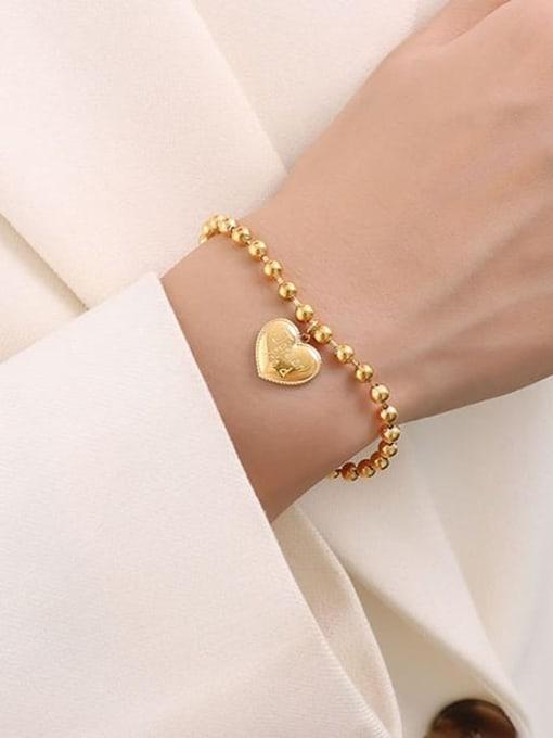 E015 gold peach heart bracelet 17+ 5cm Titanium Steel Bead Heart Minimalist Beaded Bracelet
