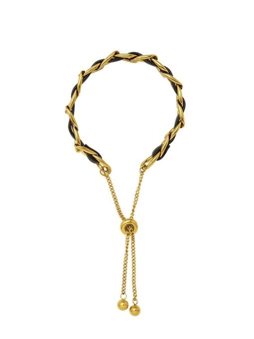 Gold Titanium Steel Leather Geometric Vintage Adjustable Bracelet