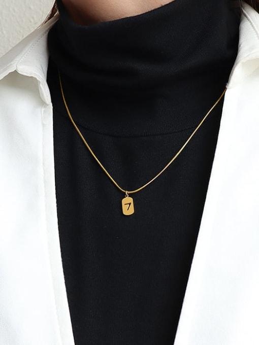 Gold 40+5cm Titanium Steel Minimalist  Hollow Number 7 Necklace