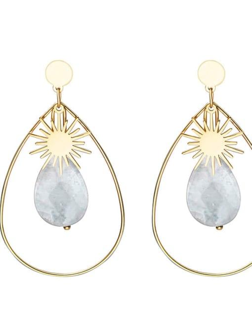 White Inlaid fashion Sun Star Earrings