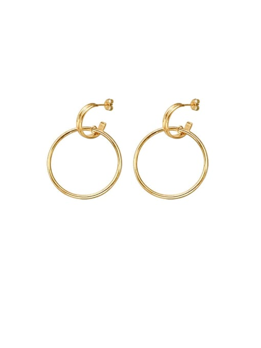 gold Titanium Steel  Hollow Geometric Minimalist Hoop Earring