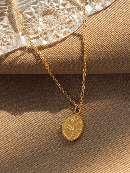 MAKA Titanium Steel Oval Vintage Necklace 2