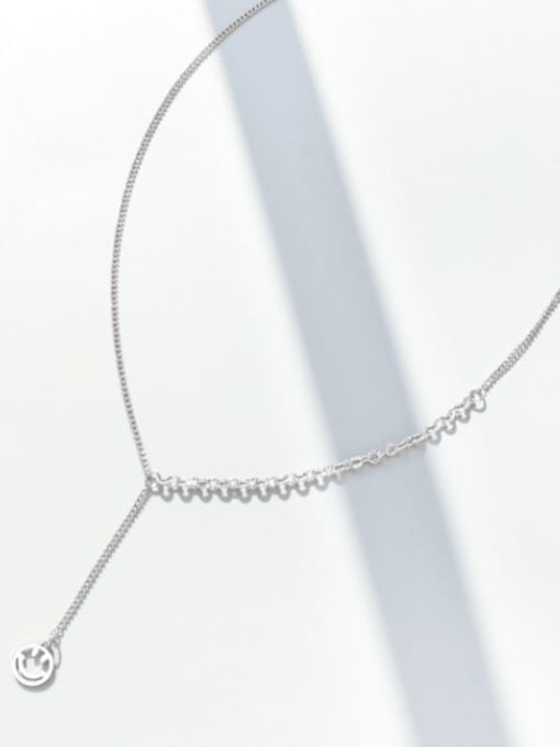 Steel necklace 45+5cm Titanium Steel Tassel Minimalist Lariat Necklace