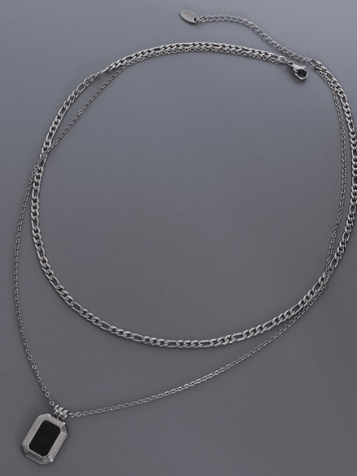 MAKA Titanium Steel Shell Geometric Vintage Multi Strand Necklace 3