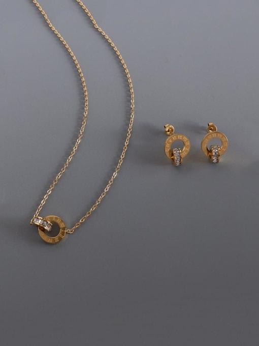 MAKA Titanium Steel Minimalist Geometric Rhinestone Earring and Necklace Set 2