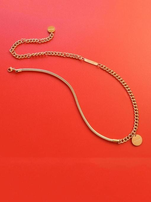 Gold necklace 35+17cm Titanium Steel Geometric Vintage Necklace