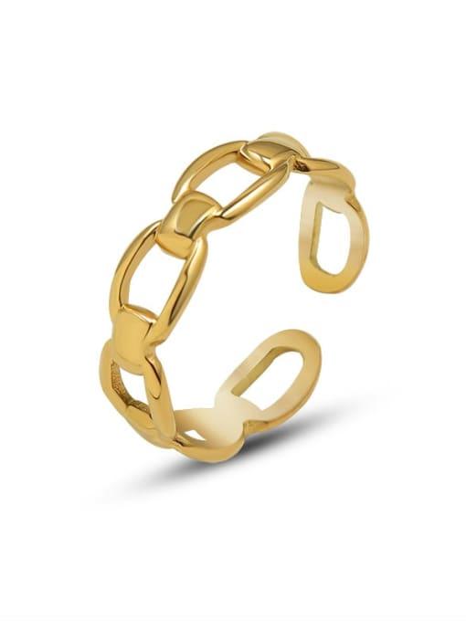 Gold  adjustable Titanium Steel Hollow Geometric Vintage Band Ring