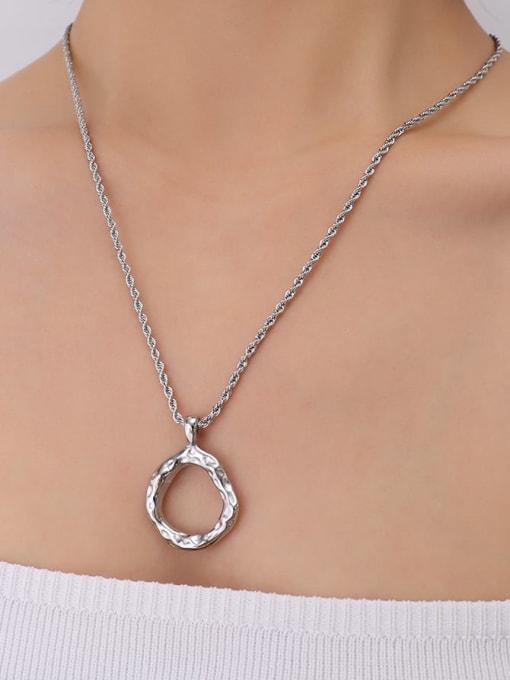 P130 Steel Necklace 50cm Titanium Steel Geometric Vintage Necklace