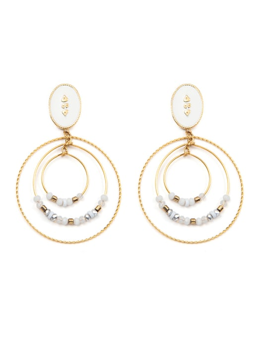 White 3-ring manual bead plated 14K Gold Stainless Steel Ear Ring