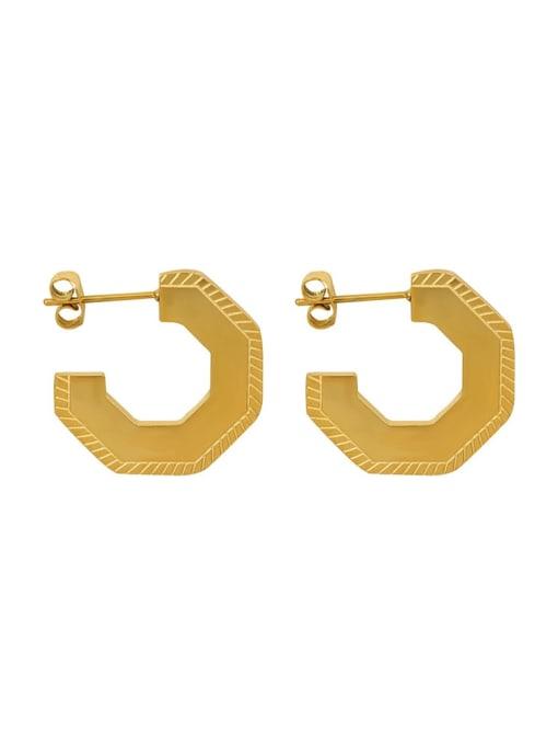 MAKA Titanium Steel Geometric Vintage Stud Earring 2