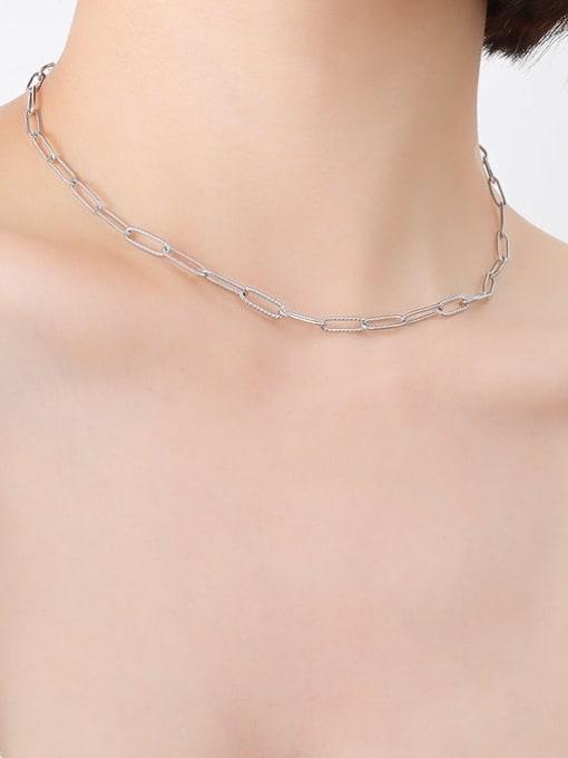 P494 textured Steel Necklace 39cm Titanium Steel Geometric Minimalist Necklace