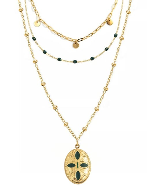 YAYACH Multi-layered cross wearing oil dripping stainless steel necklace 0