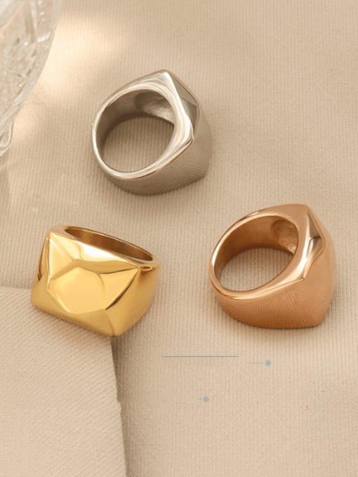 MAKA Titanium Steel Smooth Geometric Artisan Band Ring 2