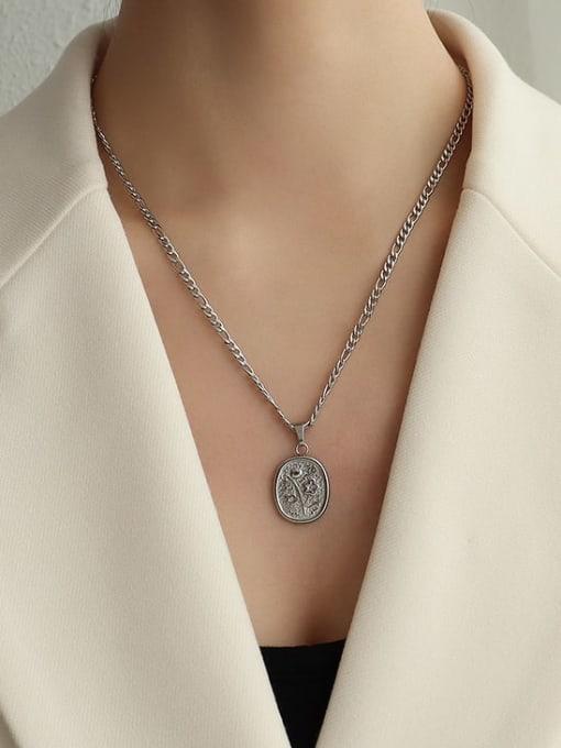 steel two Flower Necklace 50cm Titanium Steel  Flower Vintage Geometric Pendnat Necklace