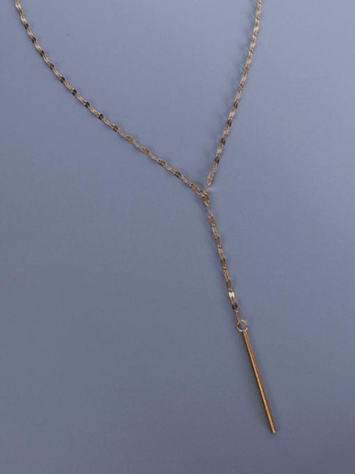 MAKA Titanium Steel Tassel Minimalist Lariat Necklace 0