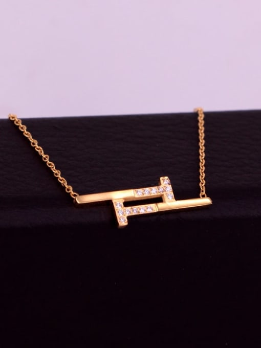 K.Love Titanium Steel Rhinestone Geometric Minimalist Necklace 2