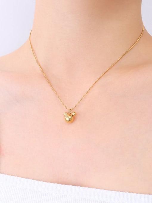 P458 golden Mickey Mouse Necklace 40 5cm Titanium Steel Bead Geometric Minimalist Necklace