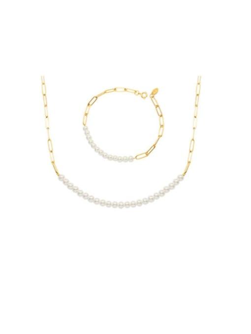 MAKA Titanium Steel Imitation Pearl Minimalist Irregular  Braclete and Necklace Set 0