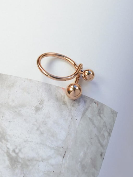 Rose gold ring Titanium Steel Bead Round Minimalist Band Ring