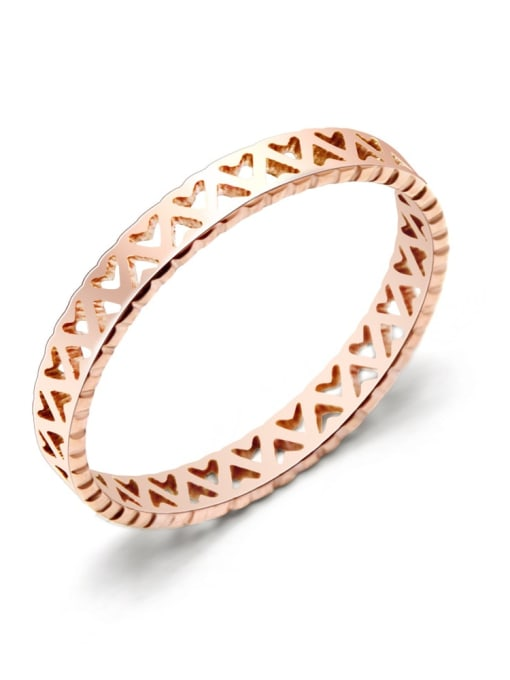rose gold Titanium Steel Hollow Heart Minimalist Band Ring