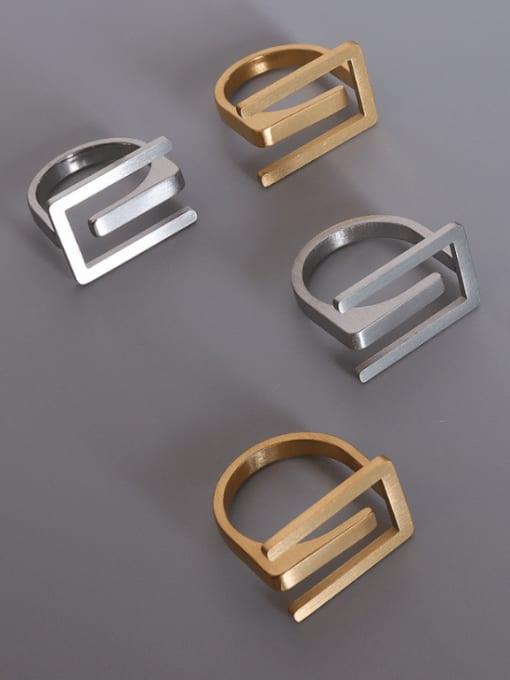 MAKA Titanium Steel Geometric Vintage Band Ring