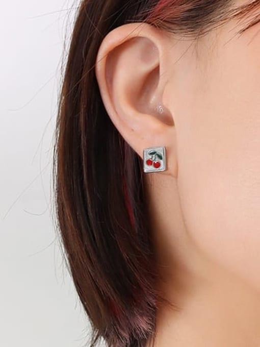 steel Titanium Steel Enamel Friut Minimalist Stud Earring