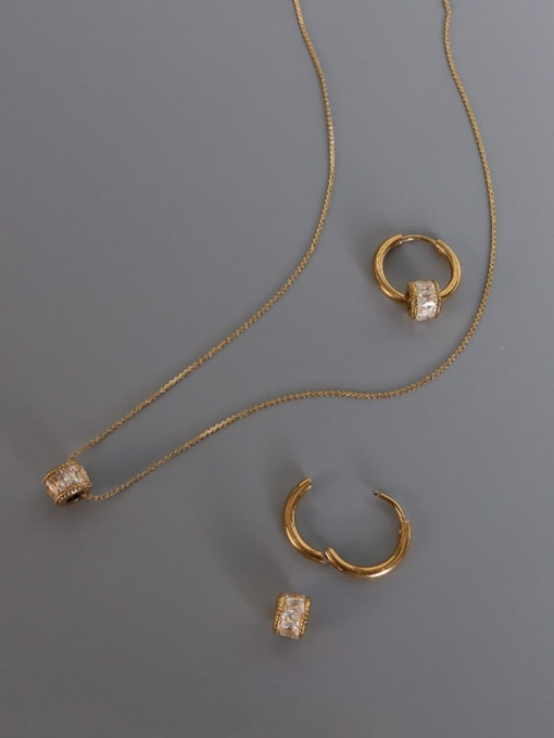 MAKA Titanium Steel Cubic Zirconia Minimalist Round  Earring and Necklace Set 0