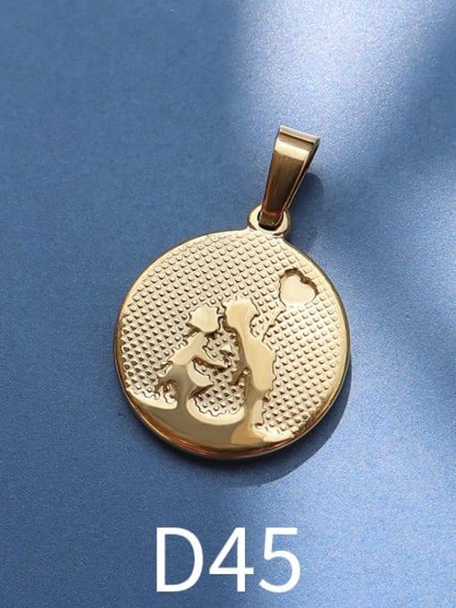 D45 gold Stainless steel Geometric  Vintage Pendant